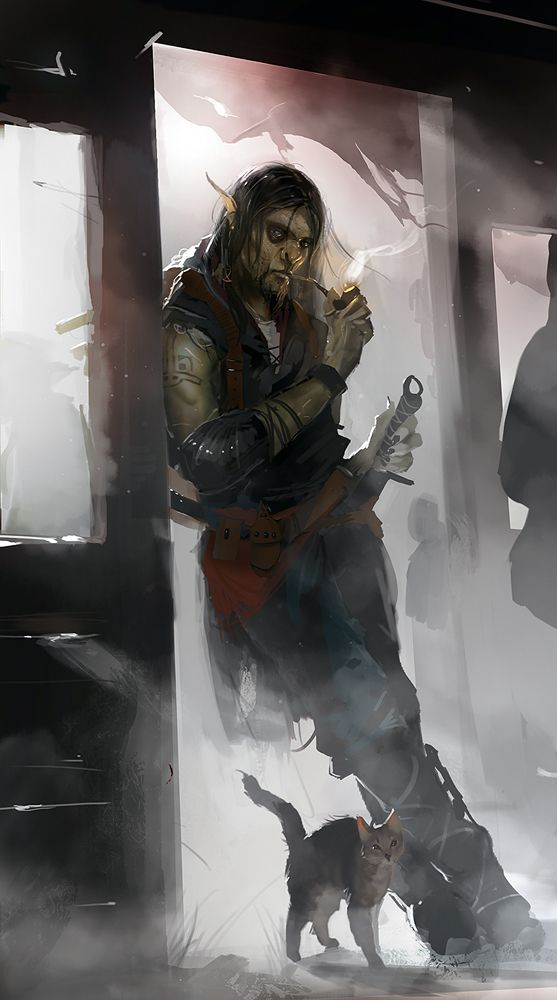 Orc rogue - fantasy art....haha I had to pin this to this album, seeing a cute…