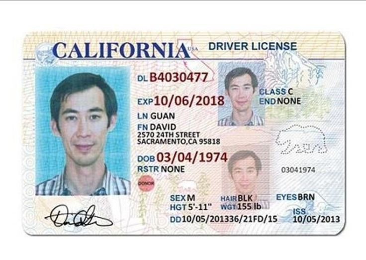 California drivers license id card template drivers