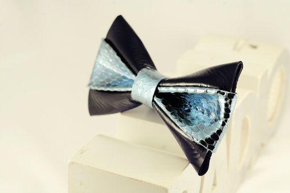 Black & Azure Snake Skin leather Bow Tie by LimeG on Etsy