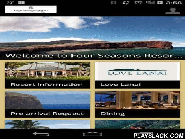 Four Seasons Resort Lanai  Android App - playslack.com , Aloha! Bordering a marine preserve perched atop a rugged red-lava cliff above a white-sand beach, our ocean-side luxury resort in Lanai, Hawaii, will make you swoon – and the spectacular golf course