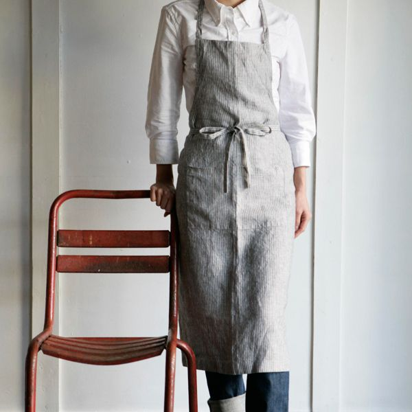 Linen Full Apron  Grey + White Stripe  Fog Linen Work