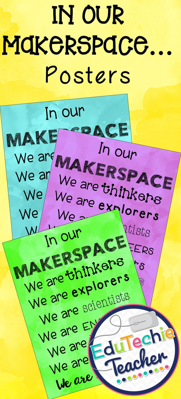 Colorful signs for the explorers and creators in your Makerspace!  #makerspace #STEM