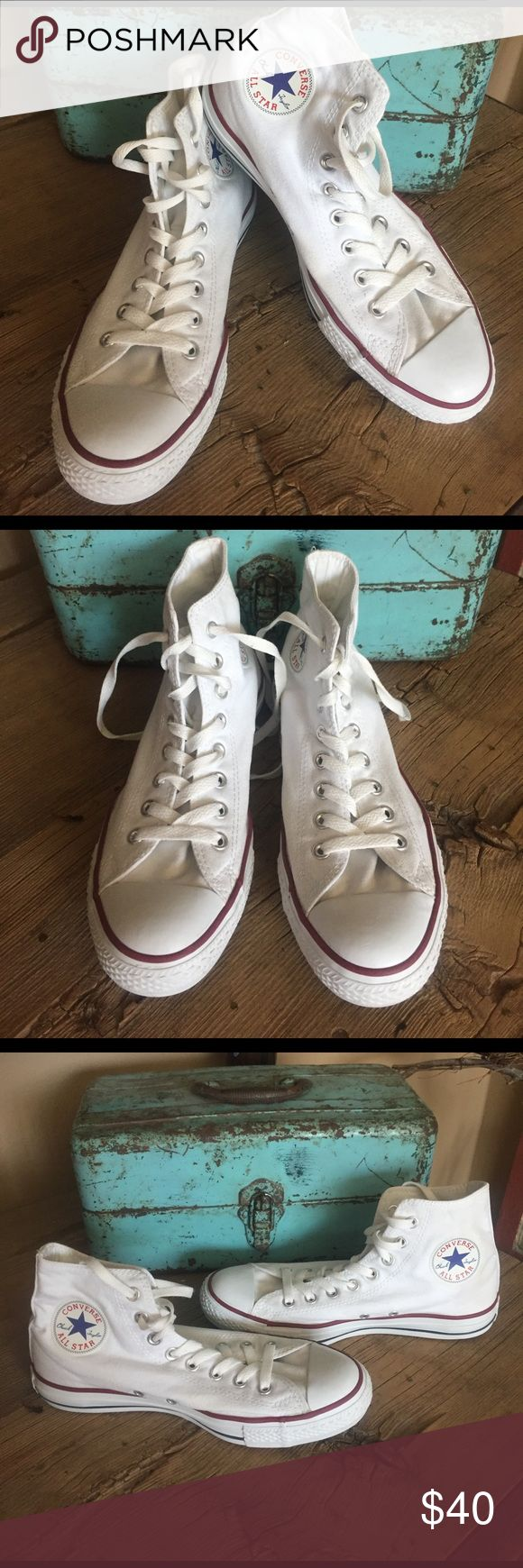 Converse White High Tops Women's Size 10/Men's Size 8. Preowned and worn just a few times they look brand new. Only flaw is the All Star on backs of heels faded if that doesn't bother you. Converse Shoes Sneakers
