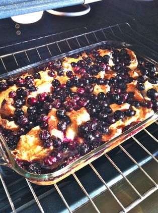 Overnight Blushing Blueberry Croissant Casserole!  Uses Yogurt to Save on Fat+Cals!  An Easy Overnight Dish That Will Have Everyone Saying 'Wow!' and Leave You Blushing... :)
