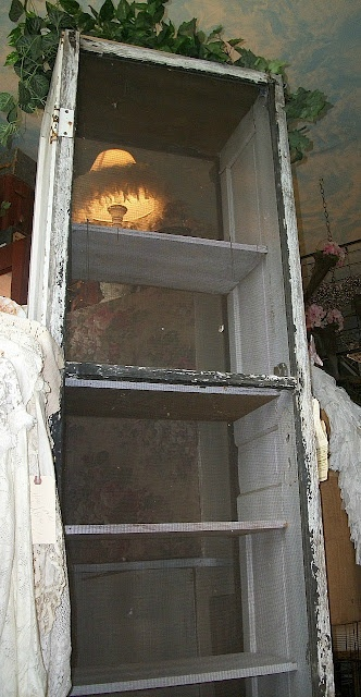 Antique Window Screen & Old Door Cabinet