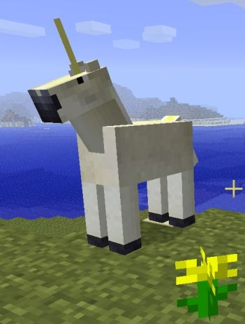 Minecraft unicorn! i just really thought this was cool and that we need one. maybe some mermaids too.
