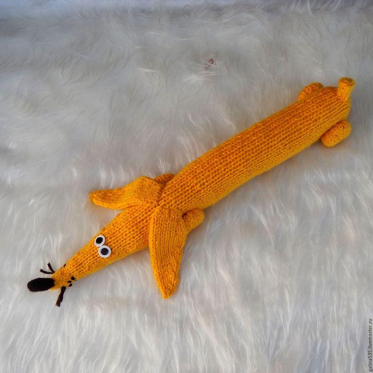 Купить Подушка валик такса. Солнечная такса. - жёлтая земляная собака, мягкая игрушка такса