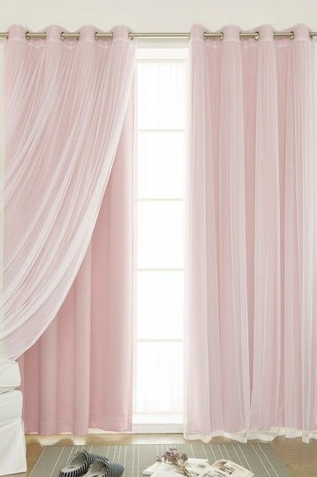 Image of Best Home Fashion Inc. Mix & Match Tulle Sheer & Blackout 4-Piece Curtain Set - Blush Pink
