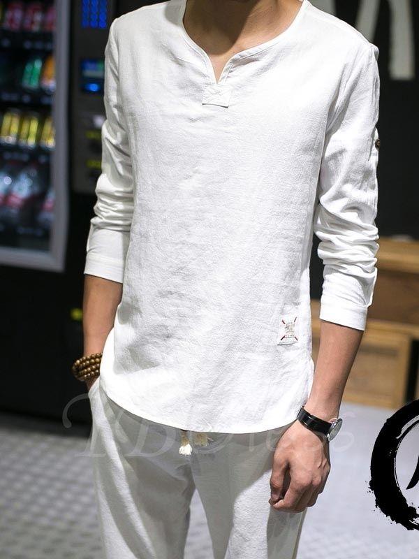Plus Size V-neck Men's Linen Shirt - m.tbdress.com