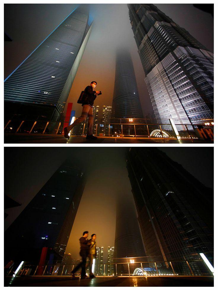 El distrito financiero de Shanghai, China. Apagón mundial en la Hora del Planeta.