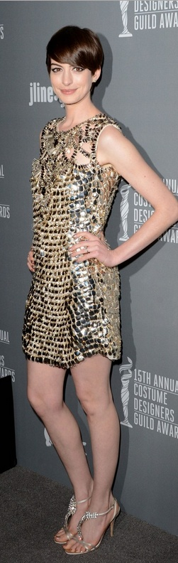 Who made Anne Hathaway's gold sequin dress, jewelry, and handbag that she wore in Beverly Hills on February 19, 2013?