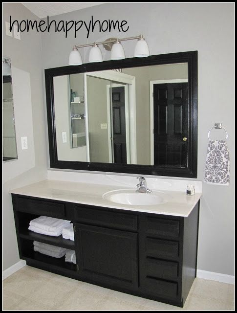 We Could Paint Our Master Bathroom Cabinets Black.love How It Looks With  The Light Grey Paint!