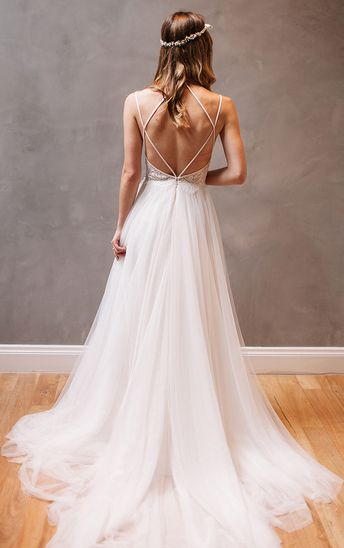 Sexy Backless Wedding Dress,Spaghetti Straps Open Back Wedding Dresses,Lace and Tulle Wedding Gown, Beach Wedding Dress,A-line Wedding Dress