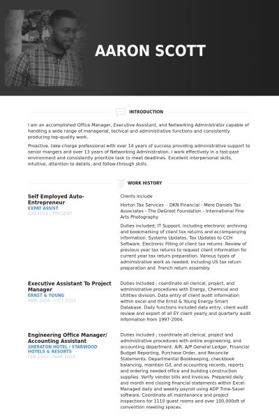 entrepreneur sample resumes