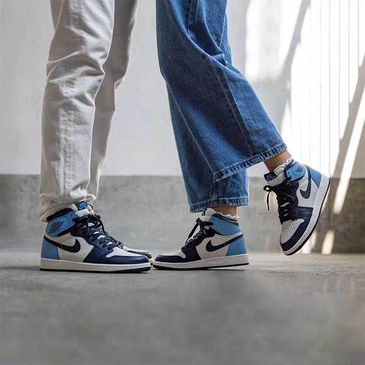 Air Jordan 1 Retro High Og Obsidian University Blue Nike Jordans Air Jordan 1 High Og Obsidian University Blue 555088 140 Sail Obsidian University Blue Sneakers In 2020 Blue Basketball Shoes Air Jordans Retro Air Jordans