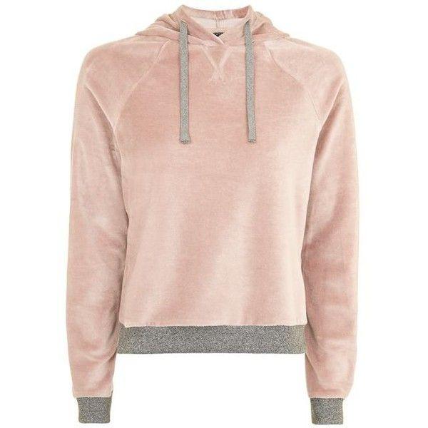Topshop Nude Velour Loungewear Hoodie found on Polyvore featuring tops, hoodies, hoodies and sweaters, hoodie top, velour top, marled hoodie, pink hooded sweatshirt and hooded sweatshirt
