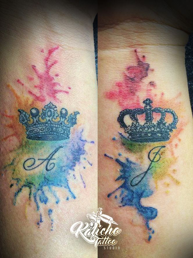 Watercolor Crowns Tattoo..with our initials....purple & gold main colors.