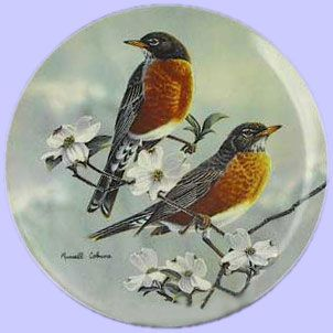 Glorious Songbirds: Robins with a Dogwood in Bloom - WS George - Artist: Russell Cobane