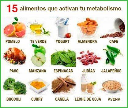 En esta imagen que aparece a continuación, tienes los alimentos que debes incluir en la lista de la compra si quieres quemar más calorías y grasas activando tu metabolismo. #adelgazar #alimentación http://www.adelgazarysalud.com/alimentos/alimentos-que-ayudan-a-bajar-de-peso