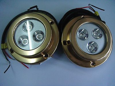 boat-parts: (2pcs) x 9W, Blue ,bronze AB2 housing, Underwater Boat Marine LED Lights ,IP68 #Boat - (2pcs) x 9W, Blue ,bronze AB2 housing, Underwater Boat Marine LED Lights ,IP68...