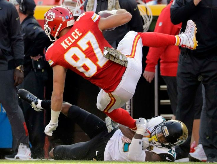 Jaguars vs. Chiefs  -  19-14, Chiefs  -  November 6, 2016  -   Jacksonville Jaguars cornerback Aaron Colvin (22) tackles Kansas City Chiefs tight end Travis Kelce (87) during the first half of an NFL football game in Kansas City, Mo., Sunday, Nov. 6, 2016.