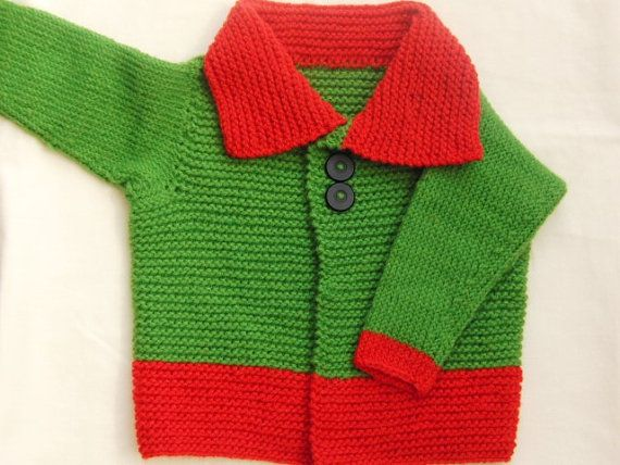 Knitted Green and Red Coat for Baby, Baby Clothes, Childrens Coat, Childrens Accessories, Gift, Birthday, Christmas, New Baby, Baby Shower