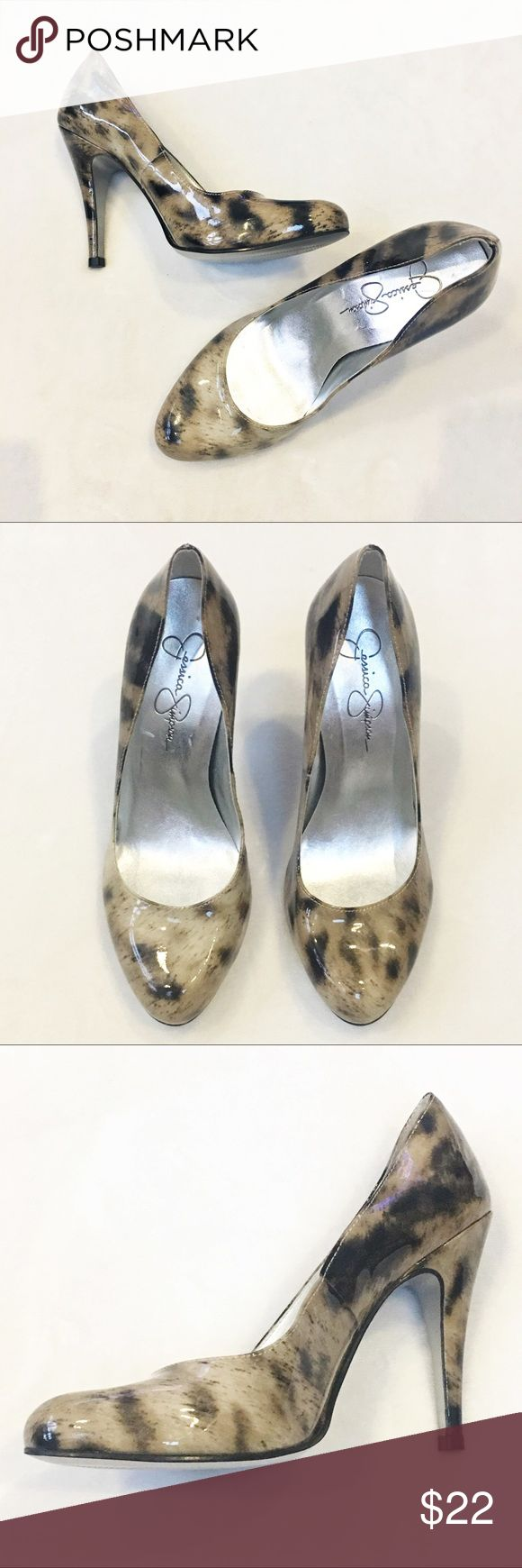 """Jessica Simpson Patent Leather Heels Brenda 2 leopard print patent leather high heels in excellent condition. Size 6-1/2 B. Heel height 4"""". Jessica Simpson Shoes Heels"""