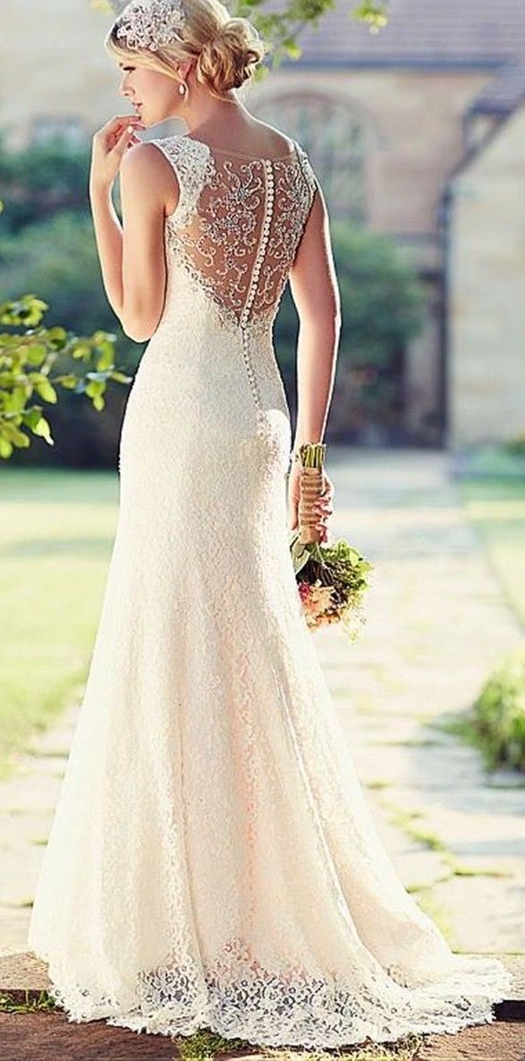 Charming White/Ivory Lace Wedding Dress  love this- also look at dresses with skinnier straps