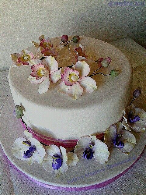Сахарные орхидеи; dekor-tort.livemaster.ru