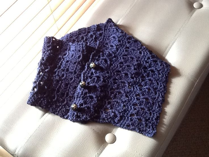 Crochet cowl scarf pattern from hobbyhopper on etsy. Used navy cotton and vintage buttons.