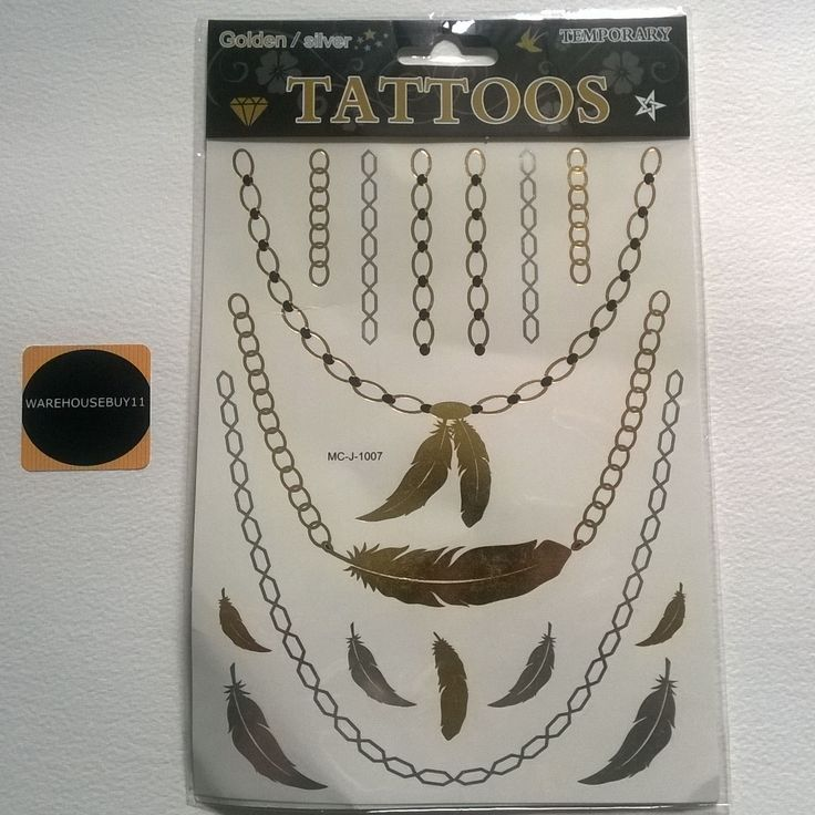 Temporary Gold Tattoos Silver Tattoo Metallic Body Art Gold Tattoo Ink Transfers Golden Tatts UKebay