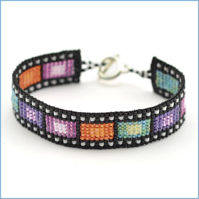 Loom Bracelet by Leslie Rogalski. This Bracelet design was created using Beadalon products the Jewel Loom™, Beadalon Toggles, and Wildfire™  Bead Weaving Thread!