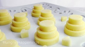 Mini wedding cakes made from cheese. So simple and fun!