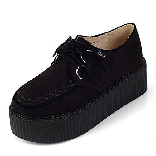 Oferta: 29.99€ Dto: -50%. Comprar Ofertas de RoseG Mujer Zapatos Plataforma Gótico Punk Festival Creepers Cordones Negro Size40 barato. ¡Mira las ofertas!