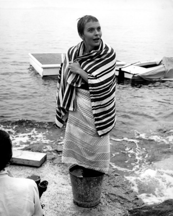Jean Seberg on the set of Bonjour Tristesse directed by Otto Preminger, 1958