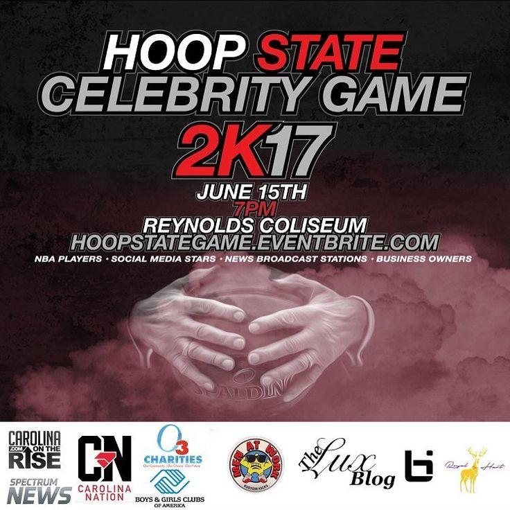 #hoopsstate #celebritybasketballgame game June 15, 2017 Reynolds Coliseum North Carolina State University campus 7 PM. #charity #Tickets #basketball #celebrity #game #eventBrite #Raleigh #NC #NorthCarolina #hoops #basketball #charlotte #durham #atlanta #unc #duke #state #ncstate #hoopmixtape #ballislife #hoopdreams #diabetes #awareness https://www.eventbrite.com/e/hoop-state-celebrity-game-tickets-33974920903 http://tipsrazzi.com/ipost/1523496274564696691/?code=BUki8o2D0pz