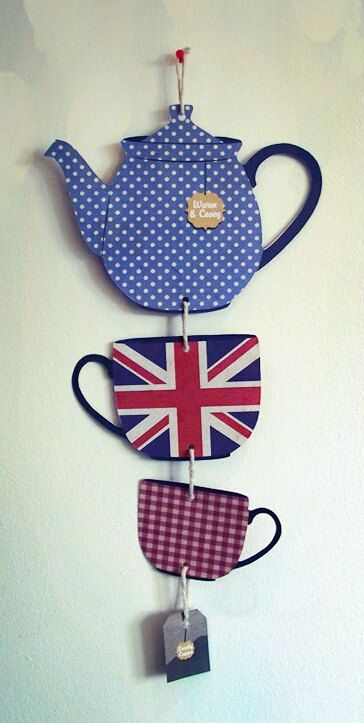 British Tea Party Handmade Hanging Decoration by NerdThatDraws via Etsy