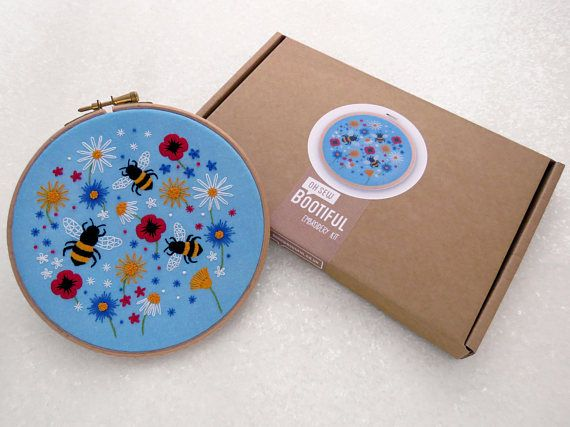 Bees Embroidery Kit Wild flower Needle Craft Kit DIY