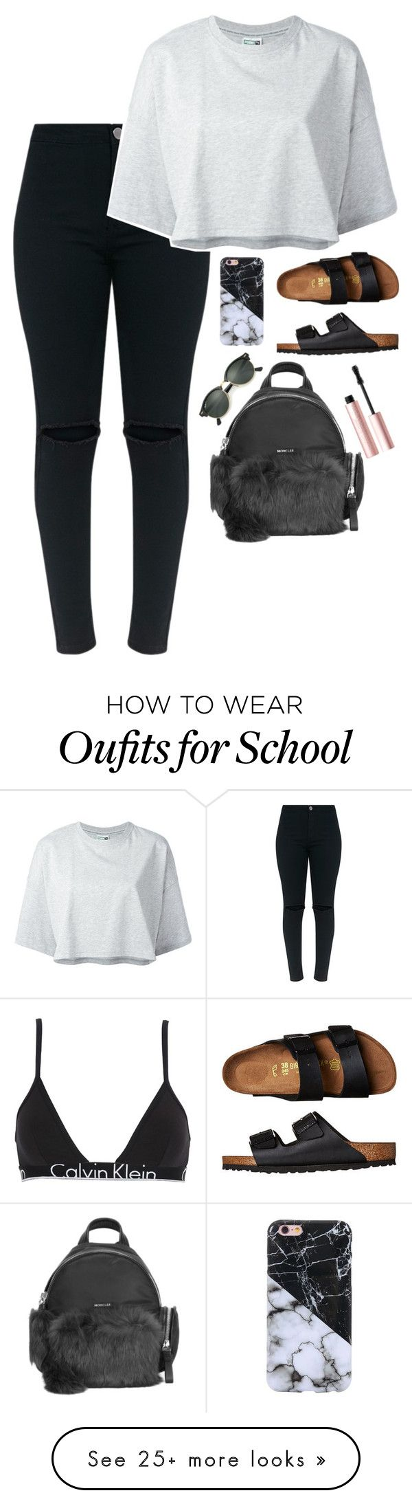 """~last day of school~"" by autumnsnyder on Polyvore featuring Calvin Klein Underwear, Puma, Birkenstock, Moncler, Ray-Ban and Too Faced Cosmetics"