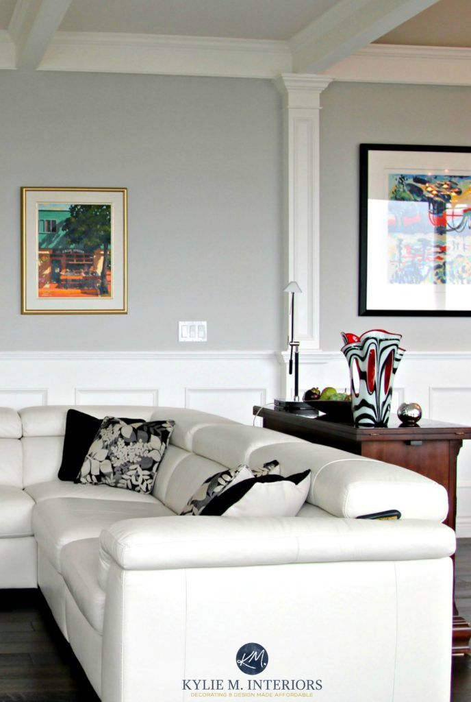 Best 25 white leather couches ideas on pinterest white - Benjamin moore stonington gray living room ...