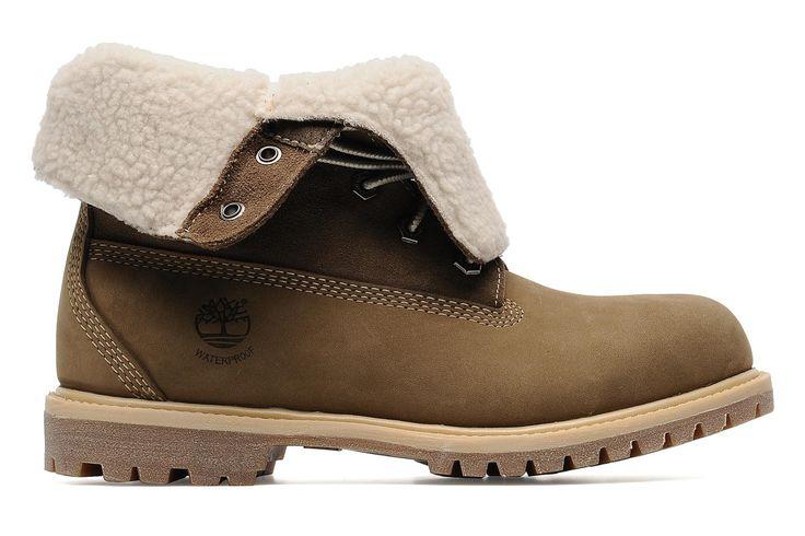 Authentics Teddy Fleece WP Fold Down Timberland (Beige) : livraison gratuite de vos Bottines et boots Authentics Teddy Fleece WP Fold Down Timberland chez Sarenza