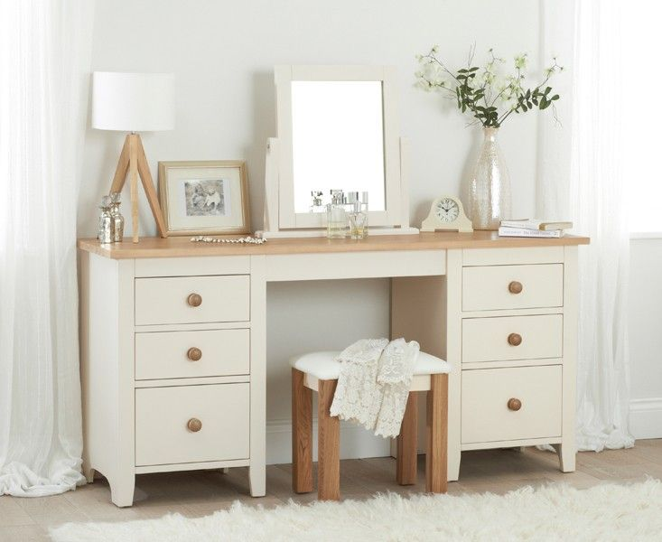 Buy the Camden Ash and Cream Double Pedestal Dressing Table Set at Oak Furniture Superstore