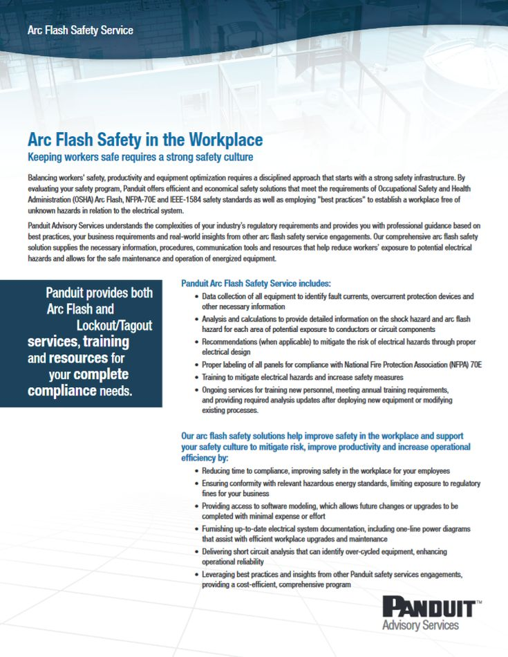 """Panduit Arc Flash Safety in the Workplace """"CPSD22--WW-ENG"""" 01.2013 http://www.panduit.com/ccurl/900/740/D-CPSD22--WW-ENG-ArcFlashDetailSheet-W%20012413,0.pdf"""