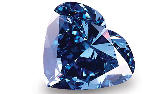 The Heart of Eternity. This heart-shaped vivid blue diamond was found in the South African Premier Diamond mine. The original stone from which the gem was cut weighed in at 777 carats. Color: Fancy Vivid Blue, Carat Weight: 27.64, Clarity: VS2, Cut: heart shaped.