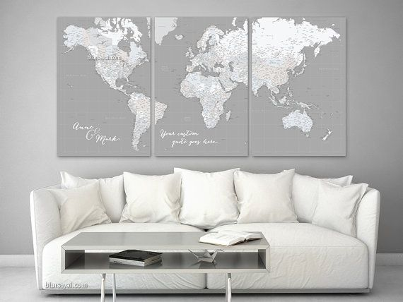 Custom quote highly detailed world map canvas print, multi panel canvas map, large art, cream & grey, large world map with cities map155 017