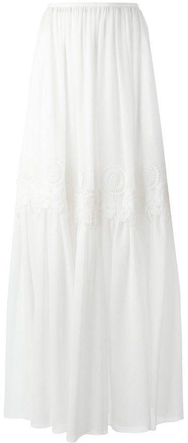 Chloé guipure seersucker skirt