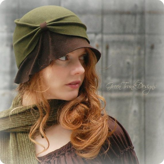 I thinks this is sooooo fall! Wish I had the red hair to go with it!   Green Trunk Designs - Woodland Cloche Hat in Earthy Green and Brown - Woman Felt Hat