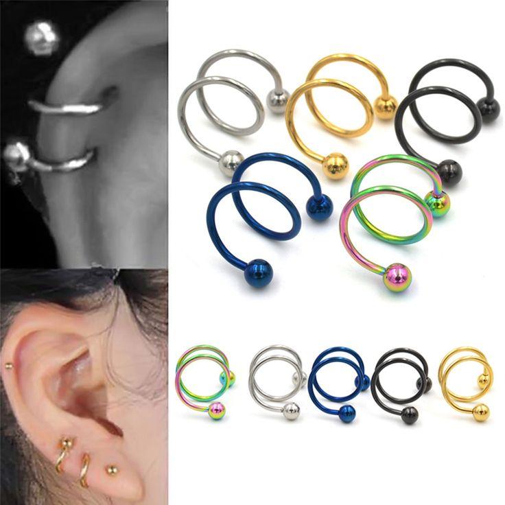 5 Colori Gauge 18G Palla D'acciaio chirurgico Doppia Spirale Twister Bilanciere Orecchino Anelli Cartilagine Trago Dell'orecchio Monili Penetranti