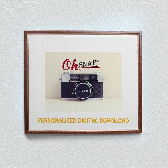 Customised photographic name print art - Vintage Camera - 5x7inch - JPG - Printable download