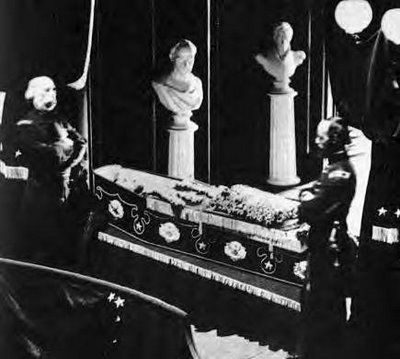 """""""The photo of Lincoln lying in an open coffinis the only one that exists. It was taken by photographer Jeremiah Gurney, Jr., on April 24, 1865, as the president's body lay in state in City Hall in New York. It was immediately confiscated by Secretary of War Edwin Stanton (1814-1869) and was hidden away for 87 years until it was discovered in the Illinois State Historical Library in 1952, by then 15-year-old Ronald Rietveld, who was researching the papers of Lincoln's personal secretaries."""""""